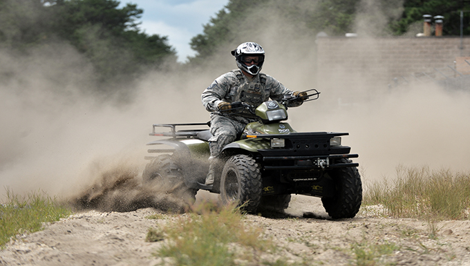 WESTHAMPTON BEACH, NY - Master Sergeant Paul W. Clementi, a member of the 106th Rescue Wing Security Forces Squadron, trains on an All Terrain Vehicle at F.S. Gabreski ANG